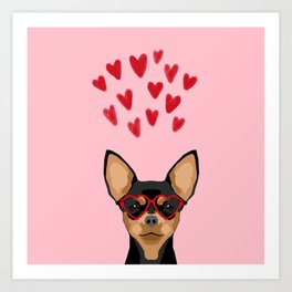 Chihuahua black and tan valentines day love hearts dog breed gifts cute chiwawa glasses Art Print