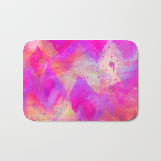 BOLD QUOTATION, Revisited - Intense Raspberry Peachy Pink Vibrant Abstract Watercolor Ikat Pattern Bath Mat