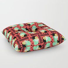 Fruity floral with dots and stripes Floor Pillow