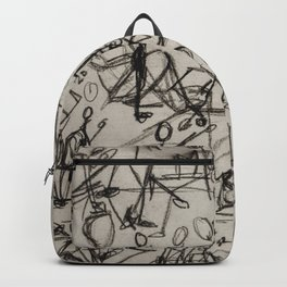 Charcoal Sketch Party People (diptych, part 1) Backpack