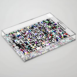 Abstract 8 Bit Pattern Acrylic Tray