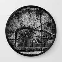 london map Wall Clocks featuring London Map by Le petit Archiviste