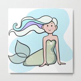 Happy Mermaid Metal Print