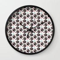 hayao miyazaki Wall Clocks featuring Hayao Miyazaki's Susuwatari by Jana Garin