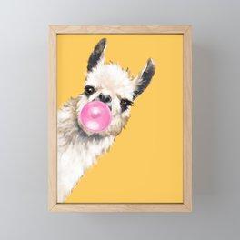 Bubble Gum Sneaky Llama in Yellow Framed Mini Art Print