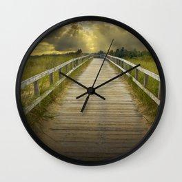 Boardwalk on the Beach with Radiant Sunbeams Wall Clock
