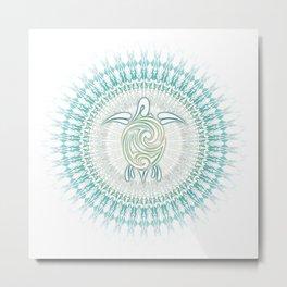 Turquoise Green Turtle And Mandala Metal Print