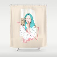 ariana grande Shower Curtains featuring Shhh... by Ariana Perez