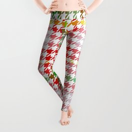 Houndstooth Classic Red Green Yellow Plaid Leggings