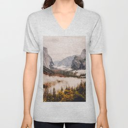 Amazing Yosemite California Forest Waterfall Canyon Unisex V-Neck