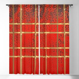 Elves Window - Red Geometric Watercolor Blackout Curtain