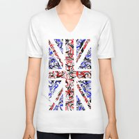 union jack V-neck T-shirts featuring Union Jack by David T Eagles