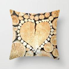 Wood Heart Symbol Throw Pillow