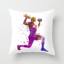 Man exercising weight training workout fitness Throw Pillow