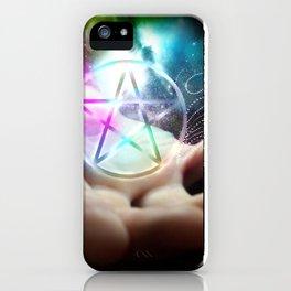 Magickal flaming pentacle iPhone Case