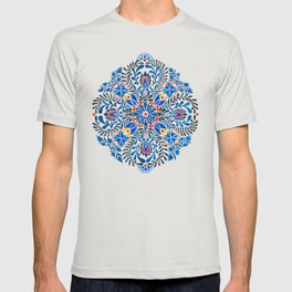 Blue-red mandala T-shirt