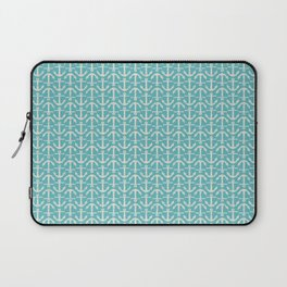 Beach Series Aqua - Maritime Nautical Small Anchor Pattern Laptop Sleeve