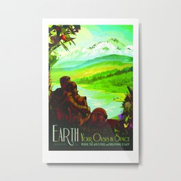 NASA Space Earth Retro Poster Futuristic Explorer Poster Metal Print