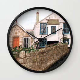 Mousehole Fishermans' Cottages UK Wall Clock