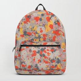 Orange Gray Ink Splatter Backpack