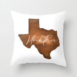 Texas Longhorn Hook Em Watercolor Throw Pillow