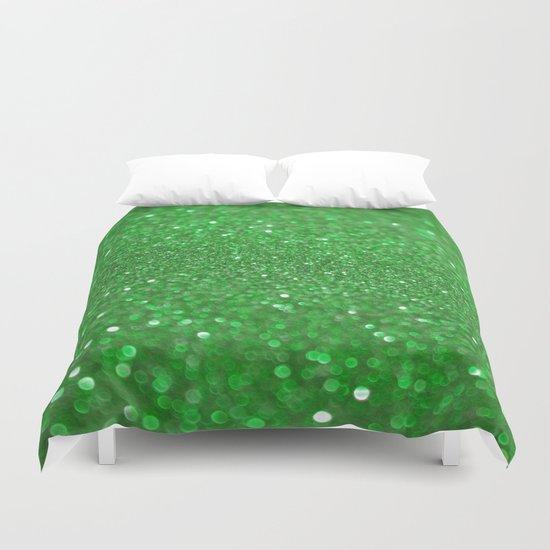 Bright Green Glitter Duvet Cover