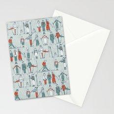 vintage ski linen Stationery Cards