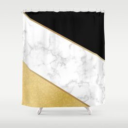 Elegant Black and Faux Gold Abstract Design Shower Curtain