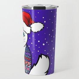 Christmas cat in sweater vest Travel Mug