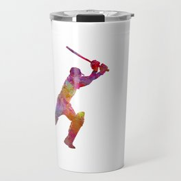 Cricket player batsman silhouette 04 Travel Mug