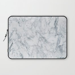 Vintage elegant navy blue white stylish marble Laptop Sleeve
