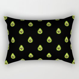 Avocado Hearts (black background) Rectangular Pillow