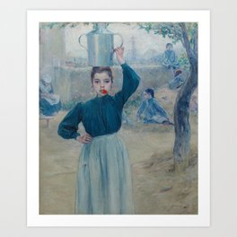 The Little Village Girl with Red Carnation Art Print