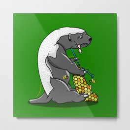Honey Badger Knitting Metal Print