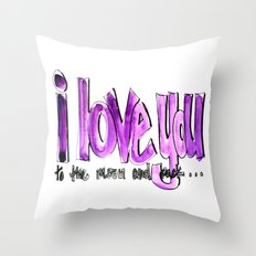 I love you (to the moon and back) Throw Pillow