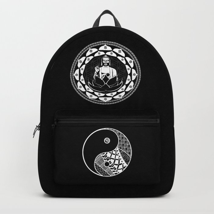 Buddha Black & White Yin & Yang Flower Of Life Backpack