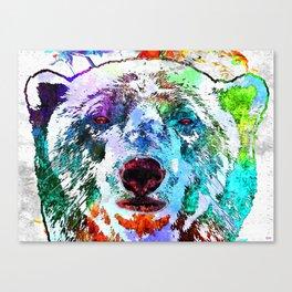 Polar Bear Watercolor Grunge Canvas Print