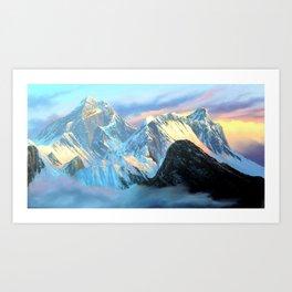 Panoramic Sunrise View Of Everest Mountain Art Print