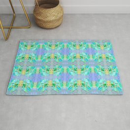 Boho Feather Zig Zag Collage | Watercolor Feather Art Print | Blue Aqua Yellow Art Print Rug