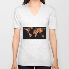 World Map Silhouette - Pecans in a Design Unisex V-Neck
