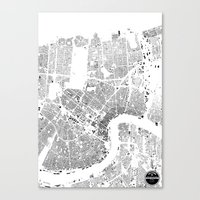 new orleans Canvas Prints featuring NEW ORLEANS by Maps Factory
