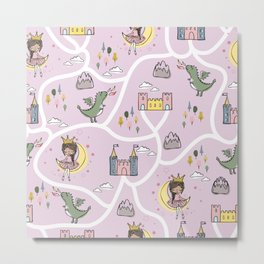 Childish seamless pattern with princess and dragon Metal Print