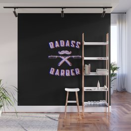 Bad barber Funny Vintage Classic Barber Retro Distressed Gift Wall Mural