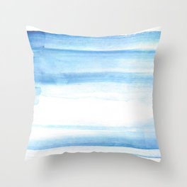180527 Abstact Watercolor 25 Blue| Watercolor Brush Strokes Throw Pillow