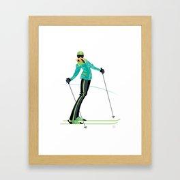 Ski Girl Lean Back Framed Art Print