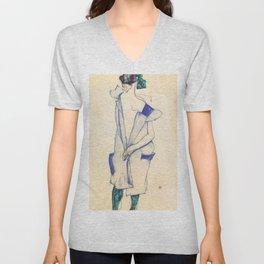 """Egon Schiele """"Rückenansicht eines Mädchens im blauen Rock (Back view of  a girl in a blue dress)"""" Unisex V-Neck"""