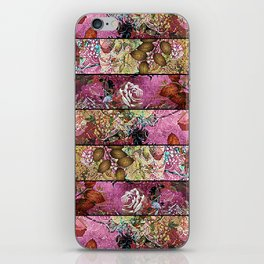 Pink candy stripe grahic floral iPhone Skin