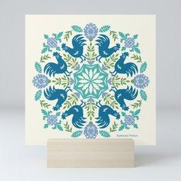 Blue Roosters Mini Art Print