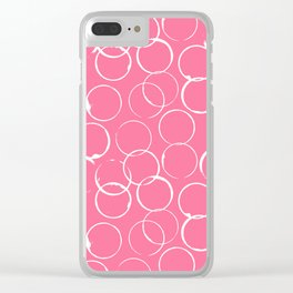 Circles Geometric Pattern Pink Bright White Clear iPhone Case