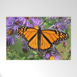 Monarch Butterfly on Wild Asters (square) Welcome Mat